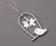 HAPPY BIRD NECKLACE - 925 sterling silver handcrafted jewelryFrom kellin0421