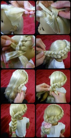 To keep a doll's hair frizz- and knot-free, braid the hair, keeping it pretty, yet tucked away to avoid the inevitable snags of play time.