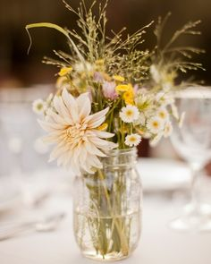 Wildflower centerpieces, easy to grow, pick and arrange from your own garden!  #local #marthastewartweddings