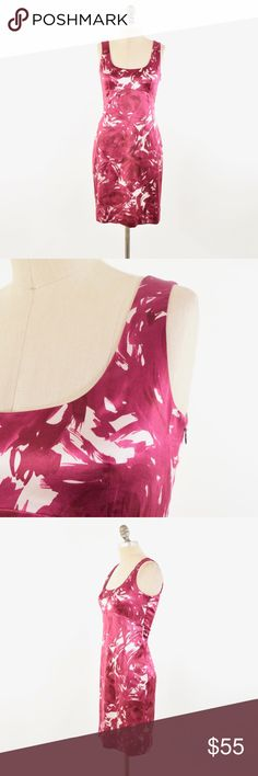 Theory Magenta Rose Silk Sateen Sheath Dress Sexy slimming sheath dress from Theory. Fitted in the bust, waist, and hip for a flattering hourglass shape. Scoop front and back necklines, princess seaming through the body to create the shape. Magenta purple color in a rose pattern made of brushstrokes. Fabric is a silk/cotton sateen with a natural shine. Hits at the knee or slightly above. Size 2. Perfect for a fancy dinner or a night out! Theory Dresses