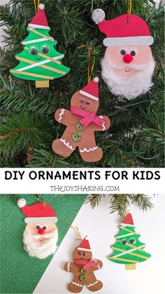 Cute and easy Christmas ornaments for kids to make. Fun Christmas activity for preschoolers and toddlers.  #thejoyofsharing #christmascrafts #diychristmasornaments #christmascraftsforkids #kidscrafts #otcchristmas #kidsactivities #diyornaments #preschoolactivities via @4joyofsharing