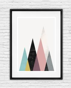 geometric poster, minimalist wall art, mountains art, mustard yellow, purple art, scandinavian design, abstract poster, nursery print please select which
