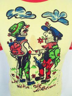 Vintage 1980s Weird German Cartoon Backpacker Stripy Stretch Euro T-Shirt XXS-XS