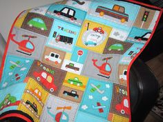 Baby Quilt Boy Vroom Toddler Car Quilt Baby Bedding by diningout, $128.00