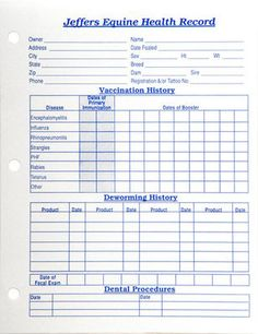 """Horse Health Records from Jeffers Pet. Handy place to record important facts about your horse. Includes areas to record vaccinations, deworming, dental procedures, hoof care, reproductive history, and other medical history. Each is 8½"""" x 11"""" sturdy stock and 3 hole punched to fit in a standard notebook or letter-sized file folder."""
