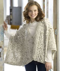 Aran Knit Wrap (I'd make it longer/front to match back, 1-piece front with cowl neck.)