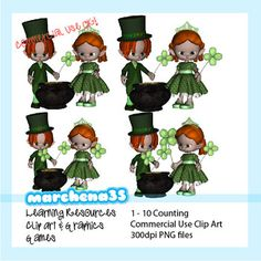 Clip Art Collection - Count 1 to 10 with the Saint Patrick Elves! 10 clip art images with elves carrying 1 - 10 shamrocks.