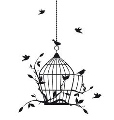 Birds with birdcage vector 1040828 - by amourfou on VectorStock®