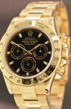 Rolex Mens watch Gold- Black face #watch