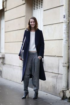 sweatpants and tailored coat - varying soft textures with leather pop - block navy, block white, block grey, metallic hint in accessories