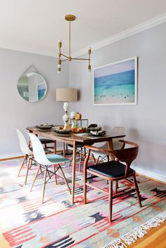 Eclectic dining room with light teal accents, light turquoise, blue-green, Sherwin Williams Reflecting Pool, mid-century modern furniture