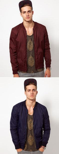 GARCON MEN STYLE FASHION BLOG ASOS BOMBER JACKET IN NAVY BLUE AND BURGNDY RED