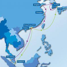KCM SERVICE: Pusan – Incheon – Qingdao – Shanghai – Hong Kong – Shekou – Port Kelang – Singapore – Hong Kong – Shekou – Pusan
