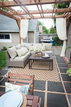 Beautiful backyard living space courtesy of Brooklyn Limestone Micoley's picks for #DIYoutdoorprojects www.Micoley.com