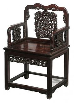 Antique Chinese Carved Hardwood