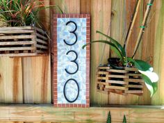 Address Sign // Mosaic House Number Plaque by GreenStreetMosaics