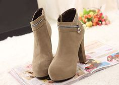 Elegant Chunky Heel and Zipper Design Ankle Boots At Price 25.38 - DressLily.com