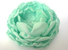 Mint green fabric flower flower for sash bridal by PaijasBoutique