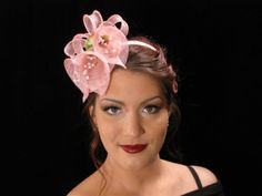 Handmade Pink Lilies Fascinator| Pink Sinamay Headband| Hair Accessory| Pink Hat| Sinamay Headpiece| OOAK Fascinator| Floral Headpiece