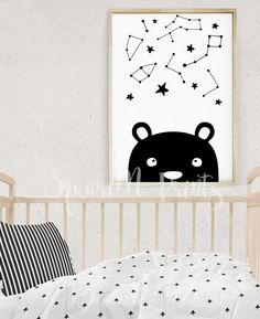 Nursery Wall Art, Black and White Animal Print, Big Dipper Little Dipper, Boy Nursery Decor, Kids Interior, Bear Print, Baby Room Decor by SquareMartshop on Etsy https://www.etsy.com/au/listing/518822275/nursery-wall-art-black-and-white-animal