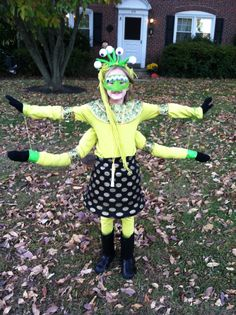 Home made kids alien costume. Could also pass for a bug costume a monster costume or Lakshmi
