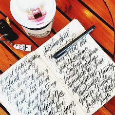 Perfect combination, hot choco + breezy weather + practicing lettering =  #calligrafikas #brushpen