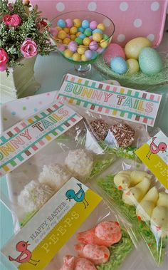 Marshmallow Chicks  and Bunny Tails-Easter Basket treats