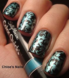 Love the color quick pens!!! Sinful's Black on Black for the base, and a Sally Hansen Color Quick Chrome polish pen, in Turquoise Chrome, for the image with Bundle Monster plate BM20.