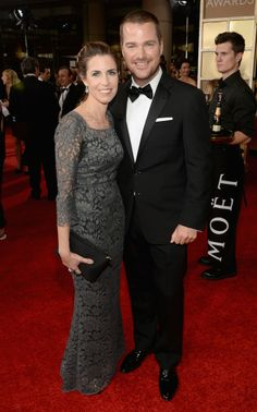 Actor Chris O'Donnell looks dashing on the red carpet in a Ralph Lauren Black Label tuxedo alongside his wife, Caroline Fentress