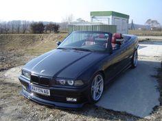 Black BMW Cabriolet with dark red interior and star Porsche-like wheels. E36 Cabrio, Red Interiors, Nice Cars, Bmw E36, Supercars, Dark Red, Panama, Dream Cars, Convertible