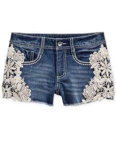 Imperial Star Crochet Denim Shorts, Big Girls (7-16)