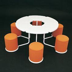 Table et siège Morgaine module blanc orange