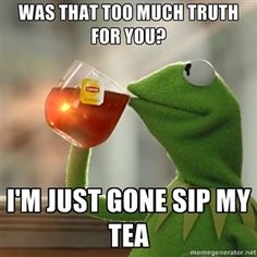 Was that too much truth for you? I'm just gone sip my tea | Kermit The Frog Drinking Tea