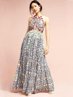 Bhanuni by Jyoti Adelise Beaded Halter Dress - ShopStyle Spring Dresses, Blue Dresses, Floral Dresses, Floral Maxi, Spring Outfits, Informal Attire, Dress Outfits, Dress Up, Anthropologie Clothing