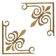 Stencil Patterns, Stencil Designs, Embroidery Patterns, Hobbies And Crafts, Diy And Crafts, Stencils, Ornament Drawing, Creation Deco, Corner Designs