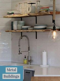 open shelving design inspiration for kitchen, laundry room, and bathroom remodeling projects and spaces using metal shelf brackets L Bracket Shelves, Diy Wood Shelves, Metal Shelves, Kitchen Shelves, Open Shelving, Glass Shelves, Shelving Ideas, Wall Shelves, Floating Shelves