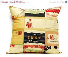 SALE 40% OFF Decorative Pillow cover  Postcards 18x18 by LilachOren, $15.00