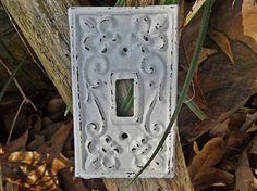 White Light Switch Plate / Shabby Chic Light by Theshabbyshak, $9.00