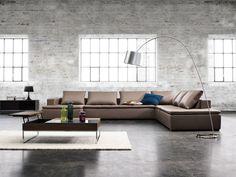 Exclusive Mezzo sofa in stone Bahia leather.