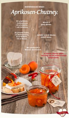 Géramont - The seductive soft cheese - Apricot chutney. Delicious with Géramont. Open the Glückskäse every day, get inspiration & win g - Chutneys, Vegetable Quiche, Salted Caramel Fudge, Salted Caramels, Diy Food Gifts, Food Club, Chutney Recipes, Food Humor, C'est Bon
