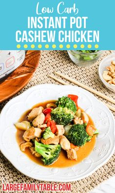 Instant Pot Low Carb Cashew Chicken Cashew Chicken, Broccoli Rice, Chicken And Vegetables, Pressure Cooking, Low Carb Recipes, Instant Pot, Dairy Free, Main Dishes, Chicken Recipes
