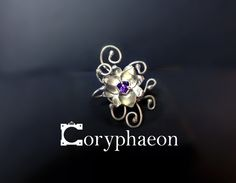 925 sterling silver flower ring with 6mm trillion amethyst! Inspired by a boss in Terraria, called Plantera!