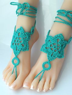 Barefoot Sandals Blue Crochet Nude Shoes Foot Jewelry by DachuksB