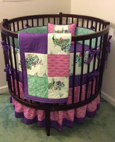 Round Crib Bedding Set Teal Pink and Purple by butterbeansboutique