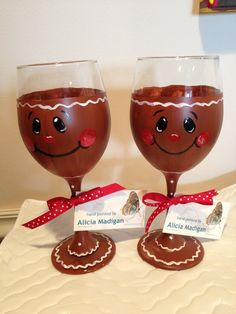 Gingerbread Man hand painted wine glasses. by ArtistryByAla, $12.95