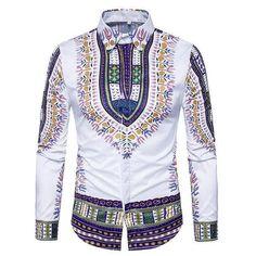 Printed Shirts Fashion Mens Shirts Long Chemise Homme Casual Camiseta Masculina Hip Hop Dress ShirtAsian Size 318 purple M Dashiki Shirt, Mens Dashiki, Mens Luxury Shirts, Casual Shirts For Men, Men Casual, Casual Shorts, Moda Afro, Casual Mode, Indian Outfits