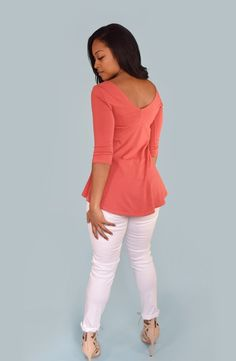 CLAIRE empire waist babydoll top in Sunset Pink