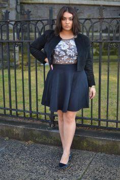 Love the sheer overlay and the high waist on the skirt!