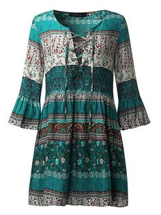 Hot saleBohemian Women Flounce Bell Sleeve Floral Printed V-neck Mini Dresses Cheap - NewChic Mobile.