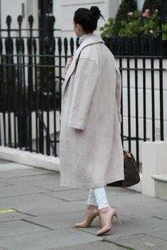 Asos nude coat & Prada pumps